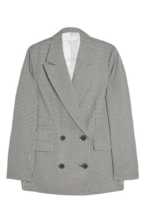 Topshop Mini Dogtooth Double Breasted Blazer grey