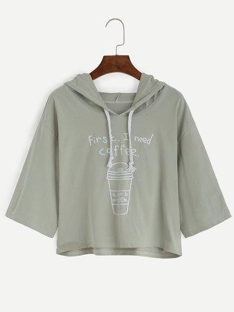 Coffee Cup Slogan Print Drawstring Hooded Tee
