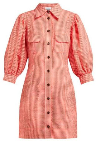 Gingham Puff Sleeve Seersucker Mini Shirtdress - Womens - Red White
