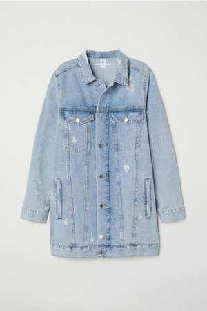 Long Denim Jacket - Light denim blue/Trashed - Ladies | H&M US