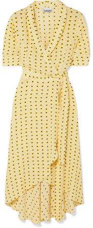 Floral-print Crepe De Chine Wrap Midi Dress - Pastel yellow