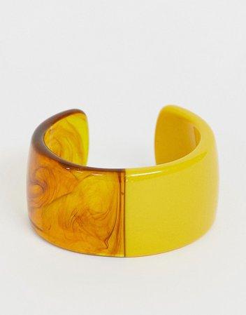 ASOS DESIGN cuff bracelet in split resin and tortoiseshell design | ASOS