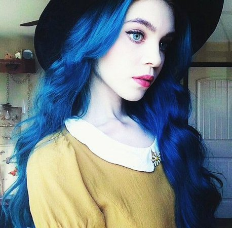 Girl with blue hair and blue eyes