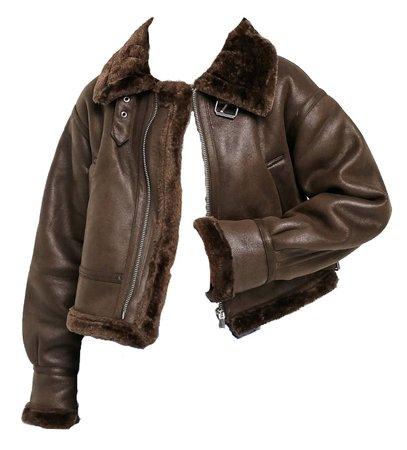 ASOS design brown  aviator Borg jacket