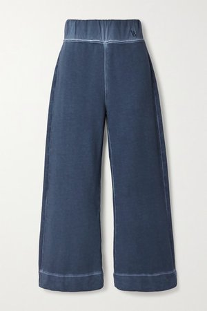 Hartley Cropped Cotton-terry Wide-leg Pants - Navy