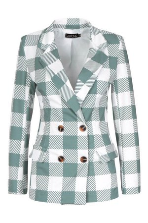 Large Scale Gingham Blazer | Boohoo
