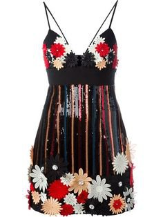 black red glitter floral dress