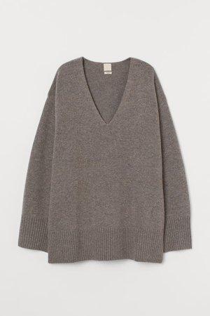Oversized Wool-blend Sweater - Dark greige - Ladies | H&M US