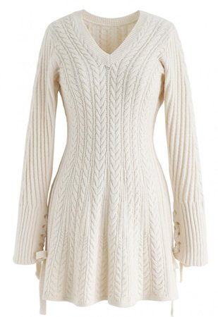 Lace Up Cable Knit Skater Dress in Cream - NEW ARRIVALS - Retro, Indie and Unique Fashion