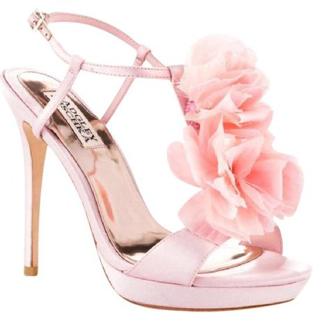 Badgley Mischka Pink New T Strap Ruffle Flower Heel Formal Shoes Size US 8 Regular (M, B) - Tradesy