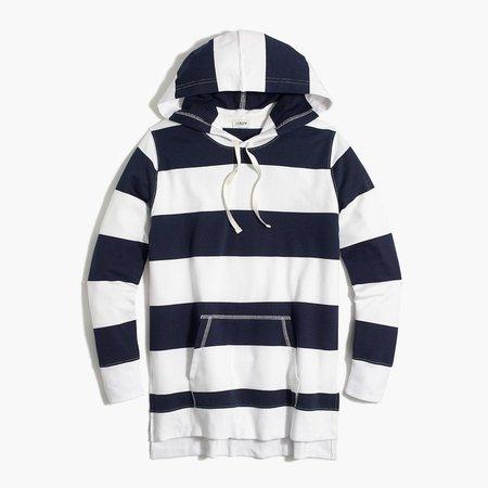 Striped side-slit tunic hoodie