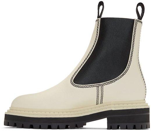 Proenza Schouler: White & Black Lug Sole Chelsea Boots   SSENSE