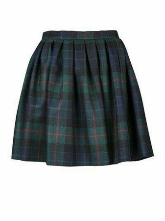 Green Plaid Pleated Skirt