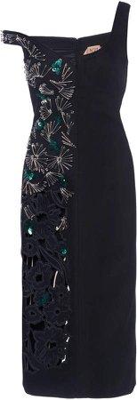 N21 Pin Embellished Cutout Midi Dress