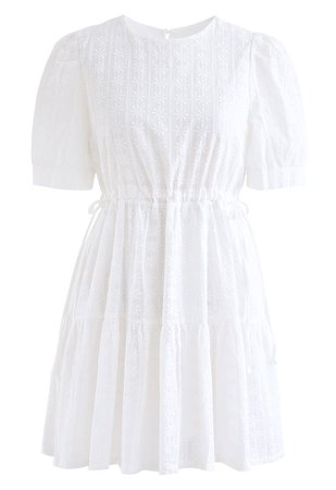 Floret Embroidered Drawstring Waist Eyelet Mini Dress in White - Retro, Indie and Unique Fashion