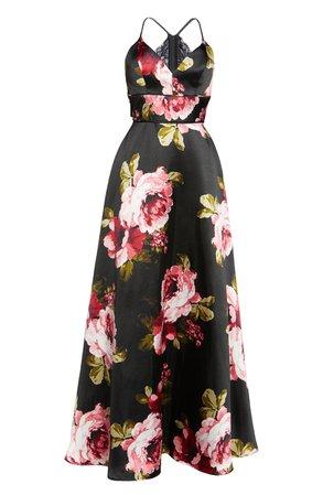 Sequin Hearts Floral Print Lace Back Mikado Gown black