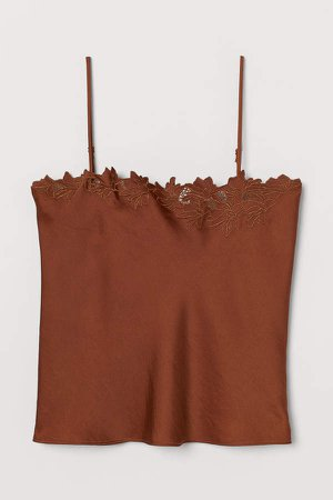 Embroidered Camisole Top - Beige