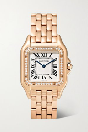 Rose gold Panthère de Cartier medium 27mm 18-karat pink gold and diamond watch | Cartier | NET-A-PORTER