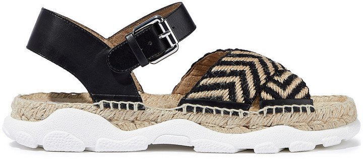 Woven Jute And Faux Leather Espadrille Sandals