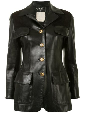 Shop black Chanel Pre-Owned CC long sleeve single-breasted leather jacket with Express Delivery - Farfetch