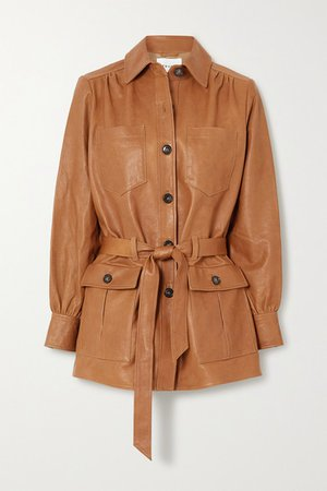 Belted Leather Jacket - Brown
