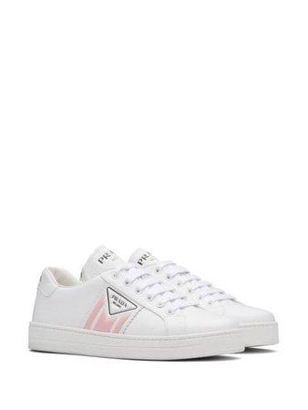 Prada Printed Logo Calf Leather Sneakers 1E125MF0053L8U White | Farfetch
