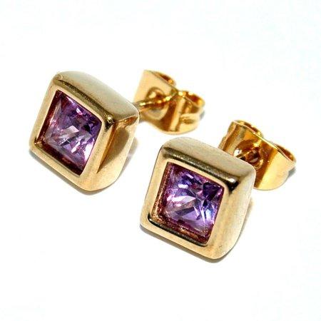 PIERRE LANG petites boucles d'oreilles de couleur or zirconium violet bijou   eBay