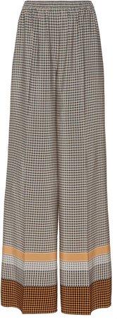 Joseph Taffy Wide-Leg Silk Plaid Pants