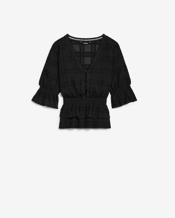 Smocked Tiered Ruffle Blouse