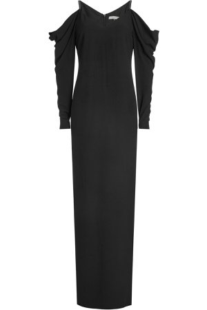 Floor Length Gown with Cold Shoulders and Draped Sleeves Gr. US 4