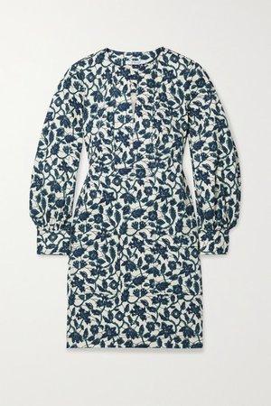 Kasha Floral-print Cotton-blend Twill Mini Dress - Blue