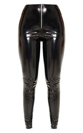 Petite BlackVinyl Zip Detail Trousers   PrettyLittleThing