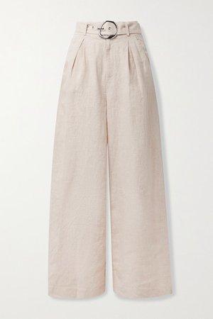Eris Belted Linen Wide-leg Pants - Beige