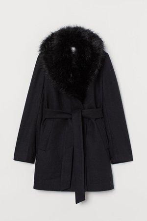 Coat with Faux Fur Collar - Black - Ladies | H&M US