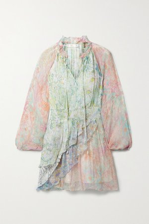 Glass Lace-trimmed Ruffled Printed Crepon Mini Dress - Pastel yellow