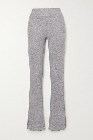 Ribbed Melange Stretch-knit Flared Pants - Light gray