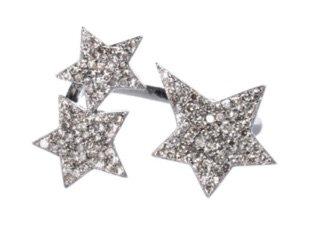 silver Diamond Triple Star Ring