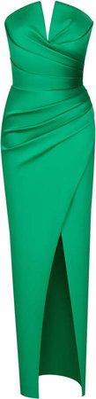 Rasario Draped Satin Strapless Gown