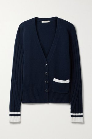 Serena Merino Wool-blend Cardigan - Midnight blue
