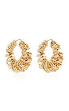 Gold-Plated Spiral Hoop Earrings By Bottega Veneta | Moda Operandi