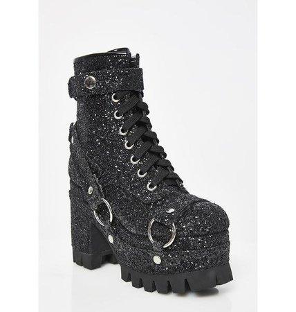 Club Exx Never Turn Down Glitter Harness Boots | Dolls Kill