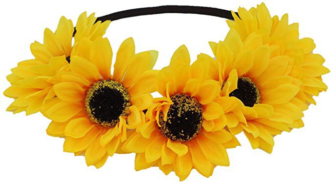 Amazon.com: Floral Fall Sunflower Crown Hair Wreath Bridal Headpiece Festivals Hair Band (2#-Elastic Yellow Headbands): Clothing