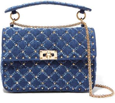 Garavani The Rockstud Spike Medium Quilted Denim Shoulder Bag - Blue