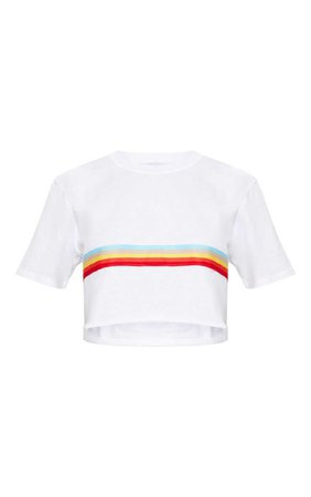 White Rainbow Sporty Tape Crop T Shirt | Tops | PrettyLittleThing