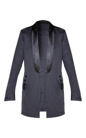 Black Satin Lapel Longline Blazer | PrettyLittleThing