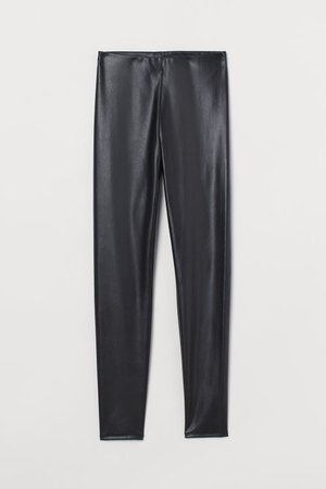 Faux Leather Leggings - Black - Ladies   H&M US
