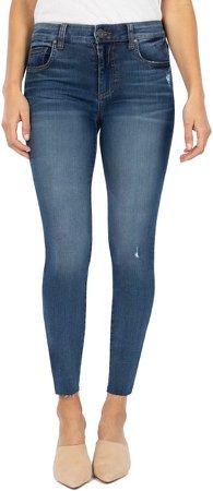 Mia High Waist Raw Hem Skinny Jeans