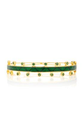M.Spalten Chroma 18K Gold Tsavorite And Enamel Bracelet