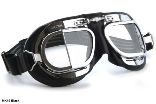 NEW HALCYON MK49 GOGGLES Motorcycle Car Vintage Racer TT Classic British Aviator | eBay