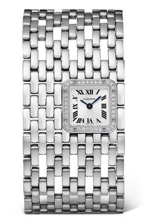 Cartier | Panthère de Cartier Manchette 22mm rhodium-finish 18-karat white gold and diamond watch | NET-A-PORTER.COM